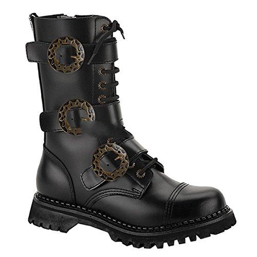 Demonia Steam-12 - gotica Steampunk piel botas zapatos unisex - tamaño 36-48, US-Herren:EU-36 (US-M4)