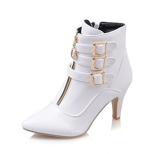 MEOTINA Women Ankle Boots High Heels Buckle Pointed Toe Shoes(9, White)