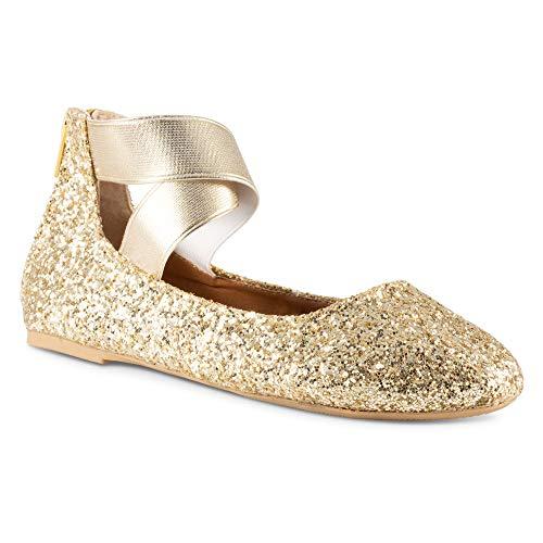Twisted Girl's Cherie Dressy Ballet Flat -CHERIEZ Gold, Size 1