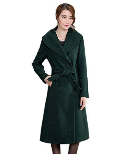 Couleur Mesdames Long Costume Hiver Col La Coat Leisure Double À Green Main Manteau Face Cachemire Femmes Unie En Coton Section PZdqpPw