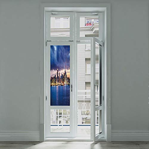 YOLIYANA Frosted Window Film Stained Glass Window Film,City,Work Well in The Bathroom,Auckland The Biggest City in New Zealand Waterfront,24''x70''