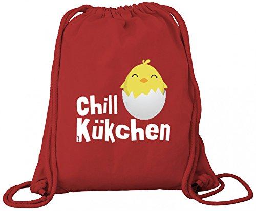 ShirtStreet süßes Ostergeschenk Ostern Easter Premium Bio Baumwoll Turnbeutel Rucksack Stanley Stella Chill-Kükchen Red