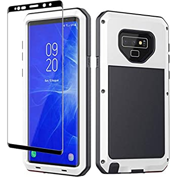 Galaxy Note 9 Case, Note 9 Heavy Duty Shockproof Hybrid Metal Silicone High Impact Rugged Case Tempered Glass Screen Protector [Full Screen Coverage] Samsung Galaxy Note 9 (White)