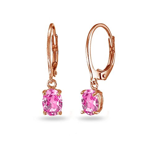 Leverback Pink Sapphire Earrings (LOVVE Rose Gold Flashed Sterling Silver Created Pink Sapphire 7x5mm Oval Dangle Leverback Earrings)