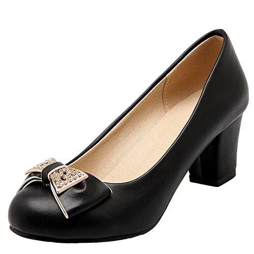 Carolbar Women's Grace Sweet Bow Mid Heel Rhinestones Court Shoes Black WRqAM6qf