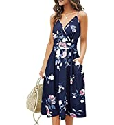 KILIG Women Summer Casual Spaghetti Strap Dresses V Neck Wrap Midi Swing Sundress with Pockets