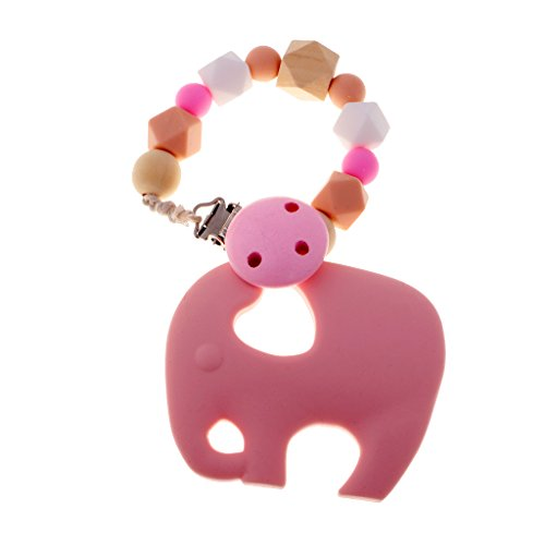 Dovewill Cute Elephant Pacifier Clip Silicone Teething Toy Wood Natural Geometric Beads Teether Rattle Baby Shower Infant Grasping Color Shape Toy by Dovewill