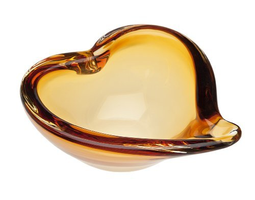 (Godinger Silver Art Large Amber Yellow Non-leaded Crystal Heart Candy Nut)