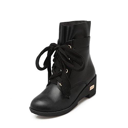 Allhqfashion Mujer-kitten-heels Sólido Redondo Cerrado Dedo Suave Cuero Con Cordones Botas Negro