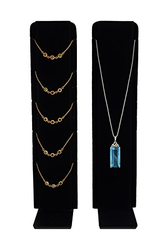 Necklace Jewelry Display with Adjustable Stand (Black Velvet) ()