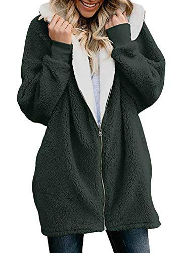 Larga Sólido Casuales Cazadoras Parka Outerwear Color Elegante Encapuchado Manga Mujer Con Otoño Mujeres Verde Cremallera Invierno Fashion Abrigos wwq0FgX