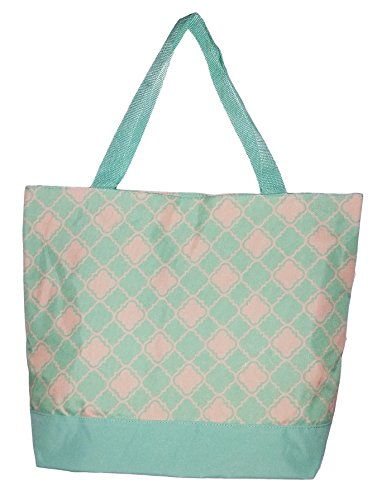 Beach Mint - Quatrefoil Print Zippered Top Tote Beach Bag with Mesh Webbed Handles (Mint Green)