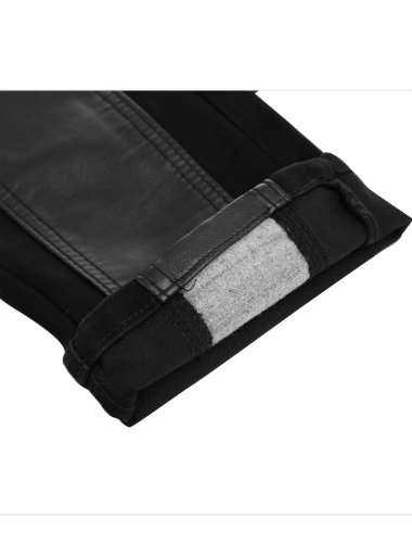 Men Stylish Zip Fly Button Closure Faux Leather Panel Pants