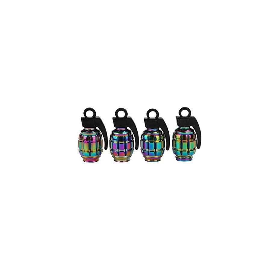 Elevin(TM)Set of 4,New Fashion Multicolor Bike Aluminum Bullet Style Truck Wheel Tire Valve Stem Caps Dust Covers American Style Presta Valve Cap