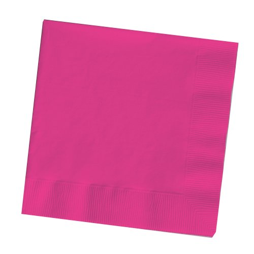 25-Count Touch of Color 3-Ply Paper Dinner Napkins, Hot Magenta - Hot Pink Napkins