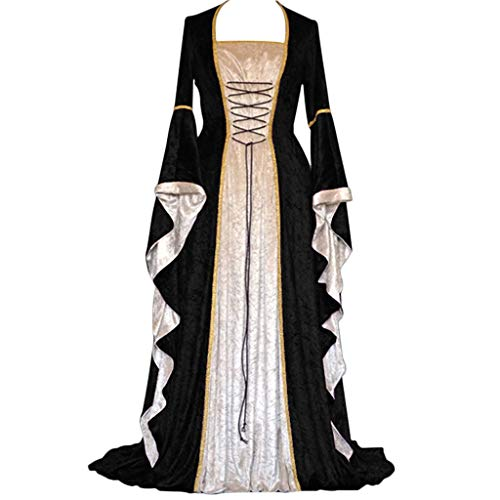 Answerl☀ Womens Renaissance Medieval Costume Dress Lace up Irish Over Long Dresses Cosplay Retro Gown Vintage Maxi Dress Black ()