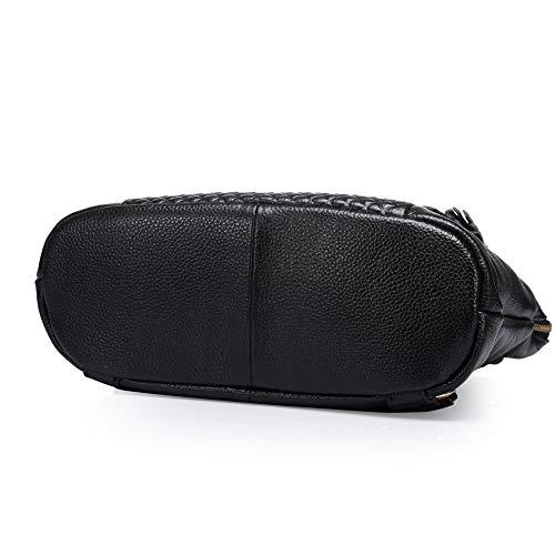 Dual Bag Una Ladies Pelle Black Borsa Zaino Vacchetta Di Baotou Donna Da In Grande Spalla Wibis Strato use Capacità Viaggio black 106qn