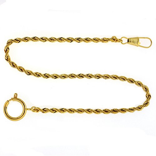 "Paylak PC6-G 14"" Gold-Tone Pocket Watch Chain Fob Rope Link Design"