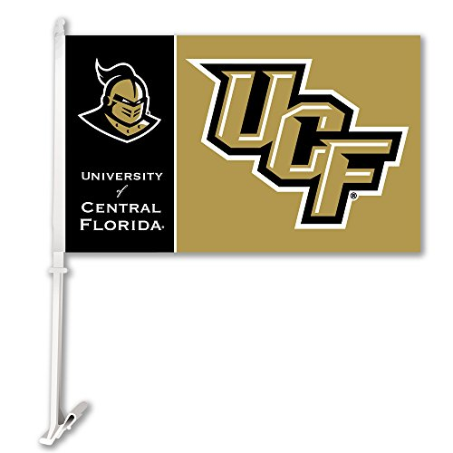 NCAA Central Florida Golden Knights Car Flag with Wall Bracket, Team Color