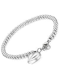 Flongo Womens Ladies Stainless Steel Beads Link Wrist Bracelet, 7.1 inch