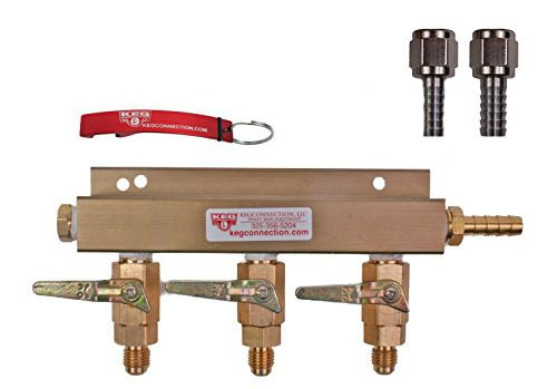 (3 Way CO2 Manifold with Integrated Check Valves and MFL Fittings Bundle by Kegconnection)