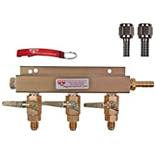 3 Way CO2 Manifold with Integrated Check Valves and MFL Fittings Bundle by Kegconnection