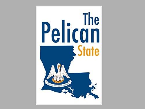 ArtsyCanvas Louisiana - The Pelican State Map Flag (24x16 Poster),
