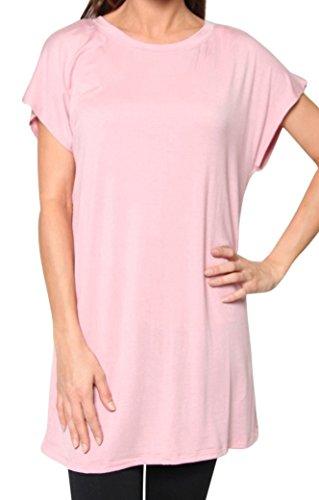 Free to Live Women's Long Kimono Sleeve Loose-fit Tunic (Large, Rose) (Free Womens Pink T-shirt)