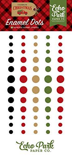 Echo Park Paper Company CCH159028 Celebrate Christmas Enamel dots, Red/Green/Tan/Burlap/Black - $4.99