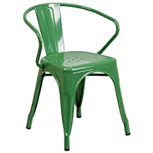 Flash Furniture Metal Indoor/Outdoor Chair with Arms, Size, Green