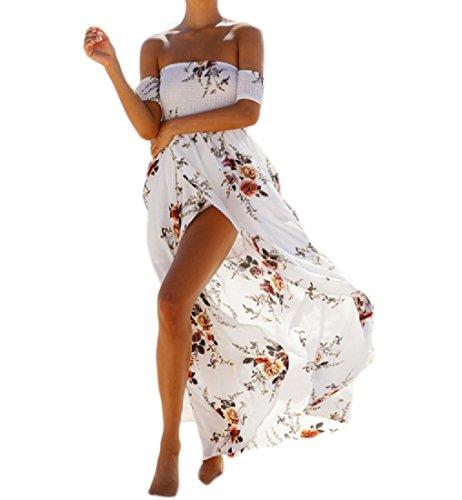 Floreale Petto Abito donne Casuale Elegante Coolred Avvolto Stampa Lungo Bechwear Sexy Bianco 7tq4qUS