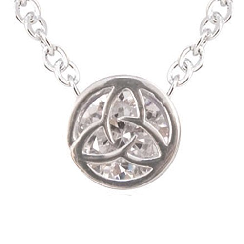 Carrolls Irish Gifts Silver Plated Round Pendant With Trinity Knot Shaped Cubic Zirconia Crystal