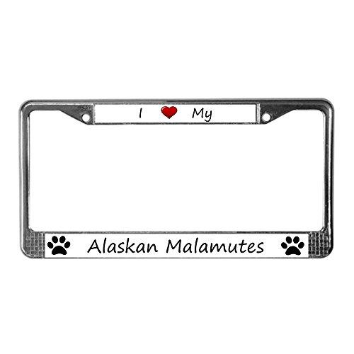 CafePress I Love My Alaskan Malamutes License Plate Frame Chrome License Plate Frame, License Tag Holder