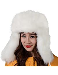 c92d97f38dd Faux Fur Snow Trapper Hat with Ear Flap for Skiing Head Circumference  22