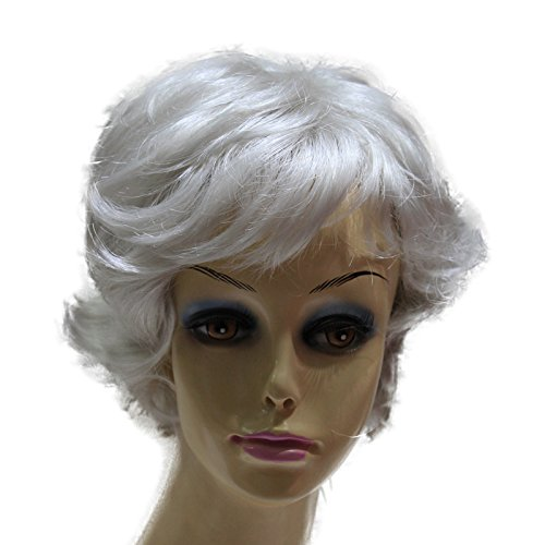 Hmy Sliver Short Curly Women Synthetic Full Wig Capless Wig+Wig Cap(2033#60)