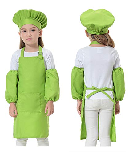 Opromo Colorful Cotton Canvas Kids Aprons with Pocket, Artist Apron & Chef Apron(S-XXL)-Hot Pink-L by Opromo (Image #1)