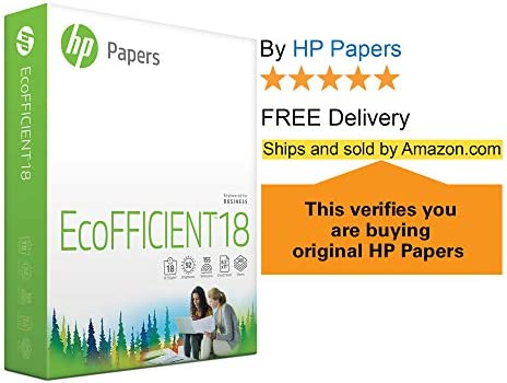 HP Printer Paper 8.5x11 EcoFFICIENT 18 lb 3 Ream Case 1500 Sheets 92 Bright Made in USA FSC Certified Copy Paper HP Compatible 088400C