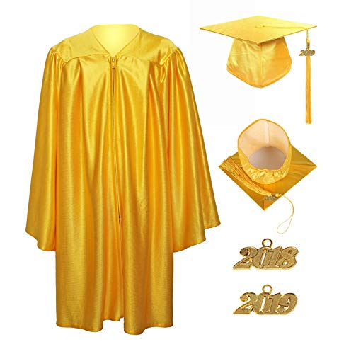 GraduationService Unisex Kindergarten Graduation Shiny Gown Cap Tassel with 2018 and 2019 Year Charms ()