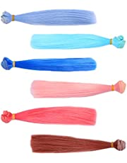 TOYANDONA 6 Pieces Doll Making Hair Wefts Heat Resistant Straight Long Hair Synthetic Doll Hair Clolored Handcraft Doll Wigs for DIY Craft
