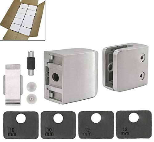 40-Pack, Stainless Steel 316 Grade Square Flat Back Glass Clamp covid 19 (Steel Square Glass Clamp coronavirus)