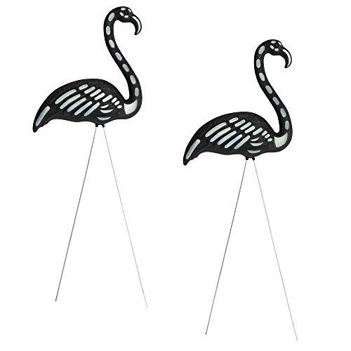 Nantucket Glow in The Dark Lawn Halloween Flamingo Skeleton Pair]()