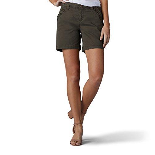 LEE Women's Straight Fit Tailored Zipper Short, Vintage Moss, 10
