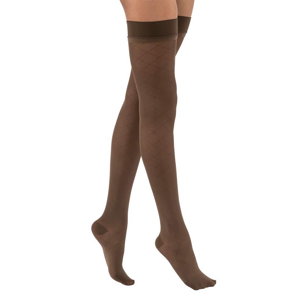 ec428fc125 Amazon.com : JOBST UltraSheer Diamond Pattern 15-20 mmHg Thigh High  Compression Stockings, Closed Toe, Medium, Classic Black : Beauty