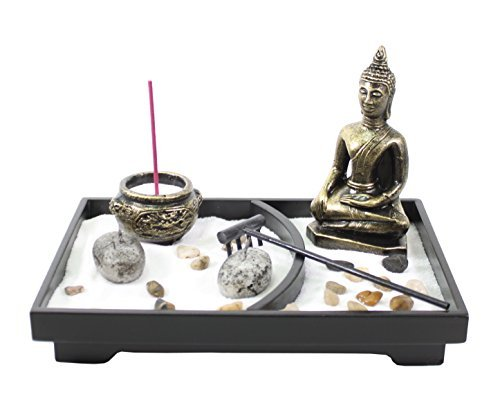 (Tabletop Zen Garden Buddha Rock Rake Sand Candle Incense Burner Home Decor Gift)