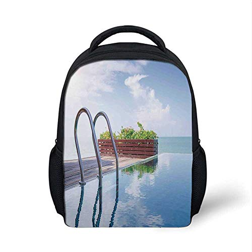 House Decor Stylish Backpack,Swimming Pool Caribbean Poolside Plants Summertime Traveling Relaxing Luxurious for School Travel,9.4