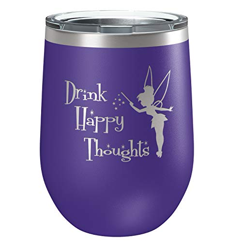 (Engraved Insulated Stainless Steel Funny Wine Tumbler with Lid | Cup for Hot and Cold Drinks with Graphics | Tinkerbell Lover | Fairy Gifts | By Laser Etchpressions | Drink Happy Thoughts Purple)