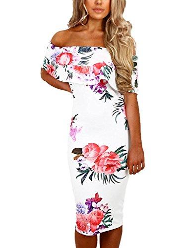HoHer Women Off Shoulder Floral Print Bodycon Midi Dresses White Large