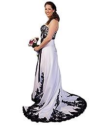 D.W.U Black White Lace Wedding Dresses Gothic Bridal Gowns Appliqued