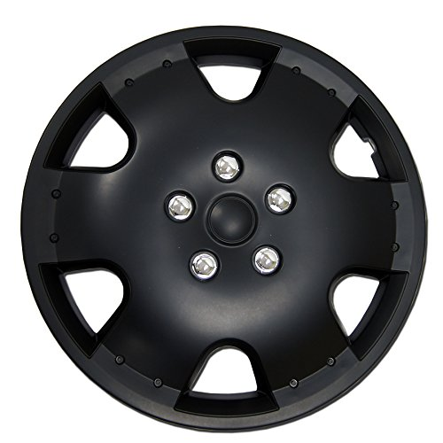 TuningPros WC-16-720-B 16-Inches Pop On Type Improved Hubcaps Wheel Skin Cover Matte Black Set of 4 -