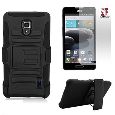 [SlickGears] Black Heavy Duty Combat Armor Kickstand Holster Case for LG Optimus F6 D500 MS500 (MetroPCS, T-Mobile) + Premium Screen Protector (Lg F6 Silicone Case)